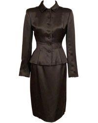 Oscar de la Renta Silk Satin Skirt Suit With Pleated Peplum - Black