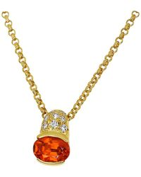 Tasaki 1.34 Carat Spessartine Garnet Diamond 18 Karat Gold Pendant Necklace - Metallic