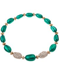 Sabbadini Gold, Steel And Diamond Necklace - Green