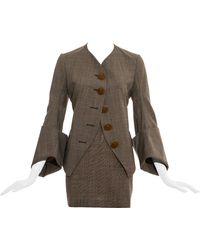 Vivienne Westwood Gray Check Wool Skirt Suit, Fw 1991