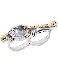 Stephen Webster Jewels Verne Sterling Silver Quartz Two-finger Ring - Metallic