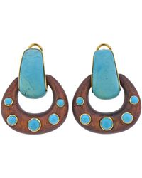 Seaman Schepps Gold Turquoise Wood Doorknocker Hoop Earrings - Blue