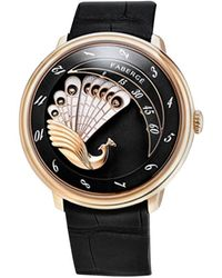 Faberge Complique Black 18k Rose Gold Peacock Watch - Red