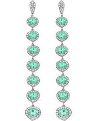 Monan 18 Karat Gold 8.18 Carat Paraiba And 2.02 Carat Diamond Earrings - Multicolor