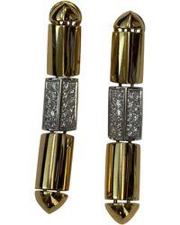 Antonini 18 Karat Gold And Platinum Diamond Drop Earrings By - Yellow