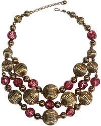 Napier 1950s Murano Glass & Gold Bead Bib Necklace - Metallic