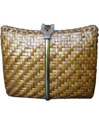 Rodo Italy Chic Woven Wicker Rattan Clutch Bag C 1980 - Brown