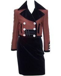 Christian Lacroix C.1990 Military Inspired Velvet Suit With Rhinestone Buttons - Black
