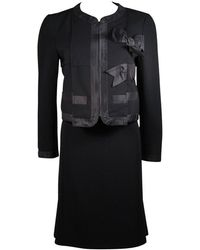 Moschino Skirt Suit With Silk Bow Detailing Size 12 - Black