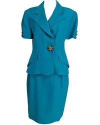 Christian Lacroix Turquoise Linen Jewel Button Suit 1990s 12 - Blue