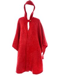 Anne Klein For Robinson & Golluber Vintage Felted Mohair Blend Cape W Hood - Red