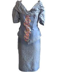 Christian Lacroix 1990s Light Jacquard Skirt Suit With Applique Detail - Blue