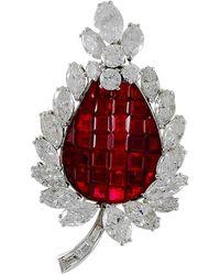 BVLGARI Bulgari Diamond, Mystery-set Ruby Brooch - Red