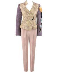 Christian Lacroix 2pc Floral Jacquard And Fur Jacket Pant Suit Set, A/w 2001 - Brown