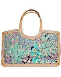 Emilio Pucci Floral Canvas Signature Print & Leather Shoulder Hand Bag Tote - Blue