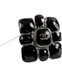 Chanel Gripoix Cc Flower Pin - Black