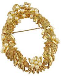 Dior Vintage Wreath Of Flowers Brooch - Metallic