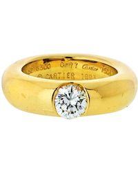 Cartier 18 Karat Gold 0.77 Carat Round Cut Diamond Engagement Ring - Yellow