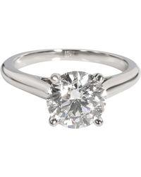 Cartier 1895 Solitaire Diamond Engagement Ring In Platinum E Vvs2 1.78 Carat - Metallic