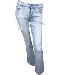 Roberto Cavalli 2000s Sz 24 Rhinestone Skulls Stonewash Bootcut Jeans Denim - Blue