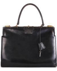 Hermès Vintage Hermes Leather Top Handle Handbag W/lock & Key - Black