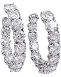 Harry Winston By Jacques Timey Diamond Platinum Hoop Earrings - Multicolor