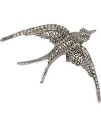 Oscar de la Renta Silver Crystal Dove Bird Pin Brooch - Metallic