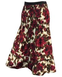 Derek Lam Floral Print Silk Moiré Gathered Skirt - Multicolour