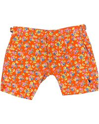 Polo Ralph Lauren Polo By Ralph Lauren Size 30 Floral Cotton / Nylon Zip Fly Swim Trunks - Orange