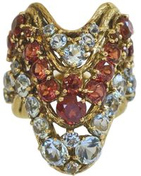 H Stern Aquamarine And Hessonite Garnet Cocktail Ring, 1970s - Multicolor