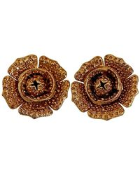 Lanvin Vintage Massive Flower Citrine Rhinestone Earrings - Multicolor