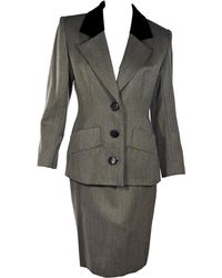 Givenchy Grey Vintage Wool Skirt Suit Set - Gray