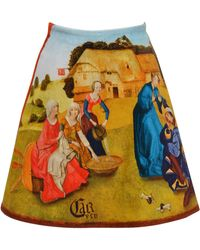 """Carven Velvet Skirt Inspired By Hieronymus Bosch's """"garden Of Earthly Delights"""" - Brown"""