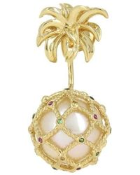 Yvonne Léon 's Stud And Ear Jacket Pineapple In 18k Gold & Multicolored Sapphires - Metallic