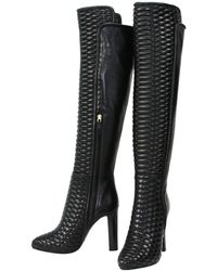 Roberto Cavalli New Textured Leather Over The Knee Boots It. 37 - Us 7 - Black