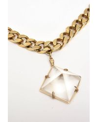 Napier Chain And Crystal Pendant Link Necklace Vintage - Metallic