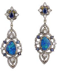 Meghna Jewels 6.75 Carat Opal Diamond Earrings - Multicolor