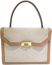 Hermès Hermes Tan Canvas Box Leather Top Handle Handbag, 1960s - Brown