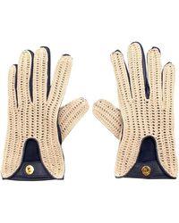 Loro Piana Leather & Crochet Gloves - Size Small - Natural