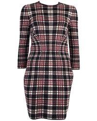 Alexander McQueen Wool Plaid 3/4 Sleeve Dress 44 - Red
