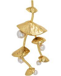 Oscar de la Renta Dangling Pearl Vine Flower Pin Brooch In Gold - Metallic