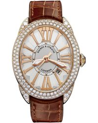 Backes & Strauss Regent 4452 Luxury Diamond Watch For Men And Women, Rose Gold - Red