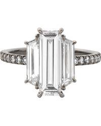Eva Fehren 2.48 Carat Diamond Ring In 18 Karat Blackened Platinum - White
