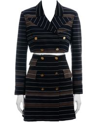 Vivienne Westwood Striped Wool Cropped Blazer And Corseted Skirt Suit, Ss 1994 - Blue