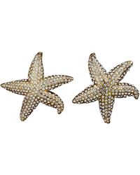 Lanvin Vintage Star Fish Rhinestone Earrings - Metallic
