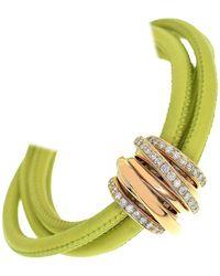 De Grisogono Diamond 18 Karat Gold Leather Magnetite Allegra Bracelet - Pink