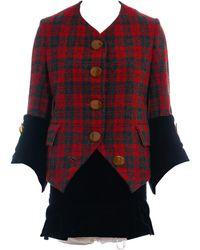 Vivienne Westwood Checked Tweed And Black Velvet Skirt Suit, Fw 1991 - Red