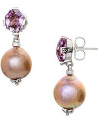 Stephen Dweck Pink Amethyst & Silver Baroque Pearl Drop Earrings - Purple