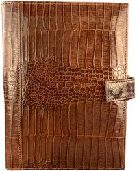Tumi Alligator Embossed Tan Leather Planner Case - Brown