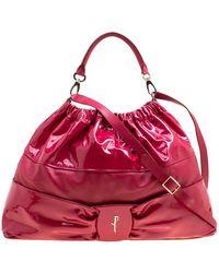 Ferragamo Leather Hobo - Red